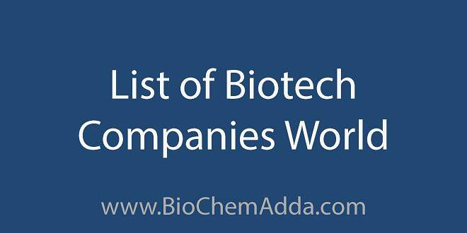 List of Biotech Companies World | BioChemAdda.com