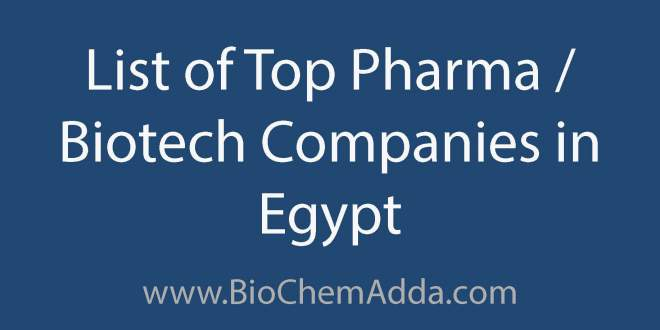 List of Top Pharma Biotech Companies in Egypt | BioChem Adda