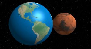 Comparativa del tamaño a escala de La Tierra Vs Marte