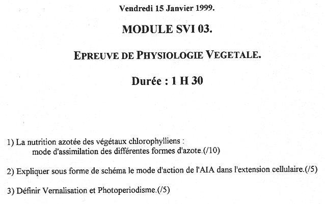 examen de physiologie végétale s4