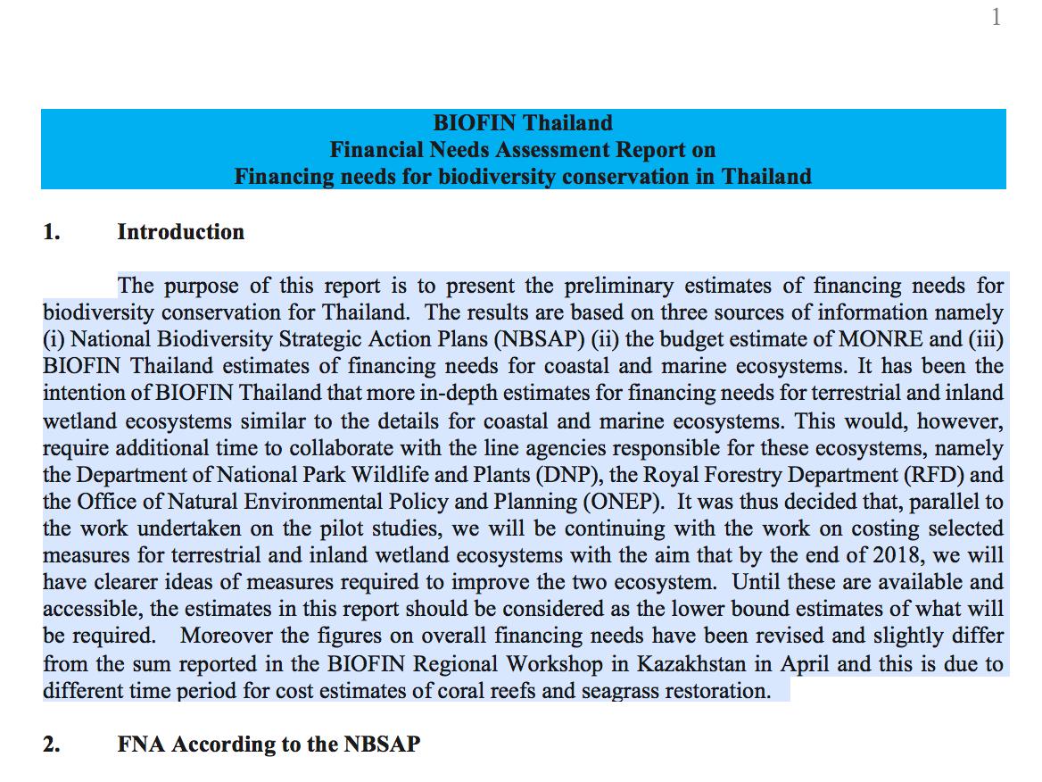 Thailand Financial Needs Assessment Summary
