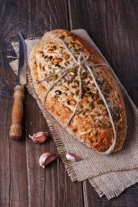 Long fermented bread from freshly milled grain and soaked seeds