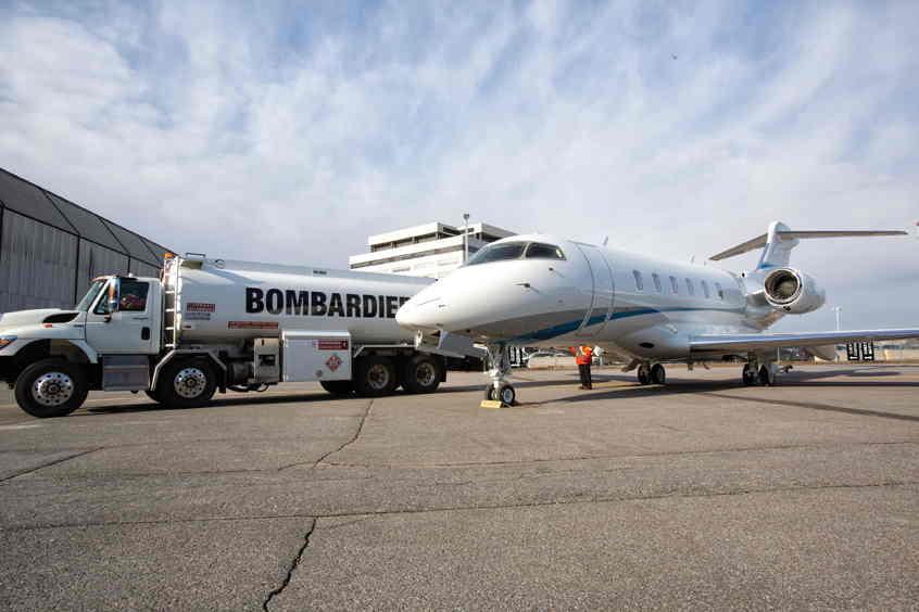 Bombardier entregó un jet nuevo nuevo volando con biocombustible