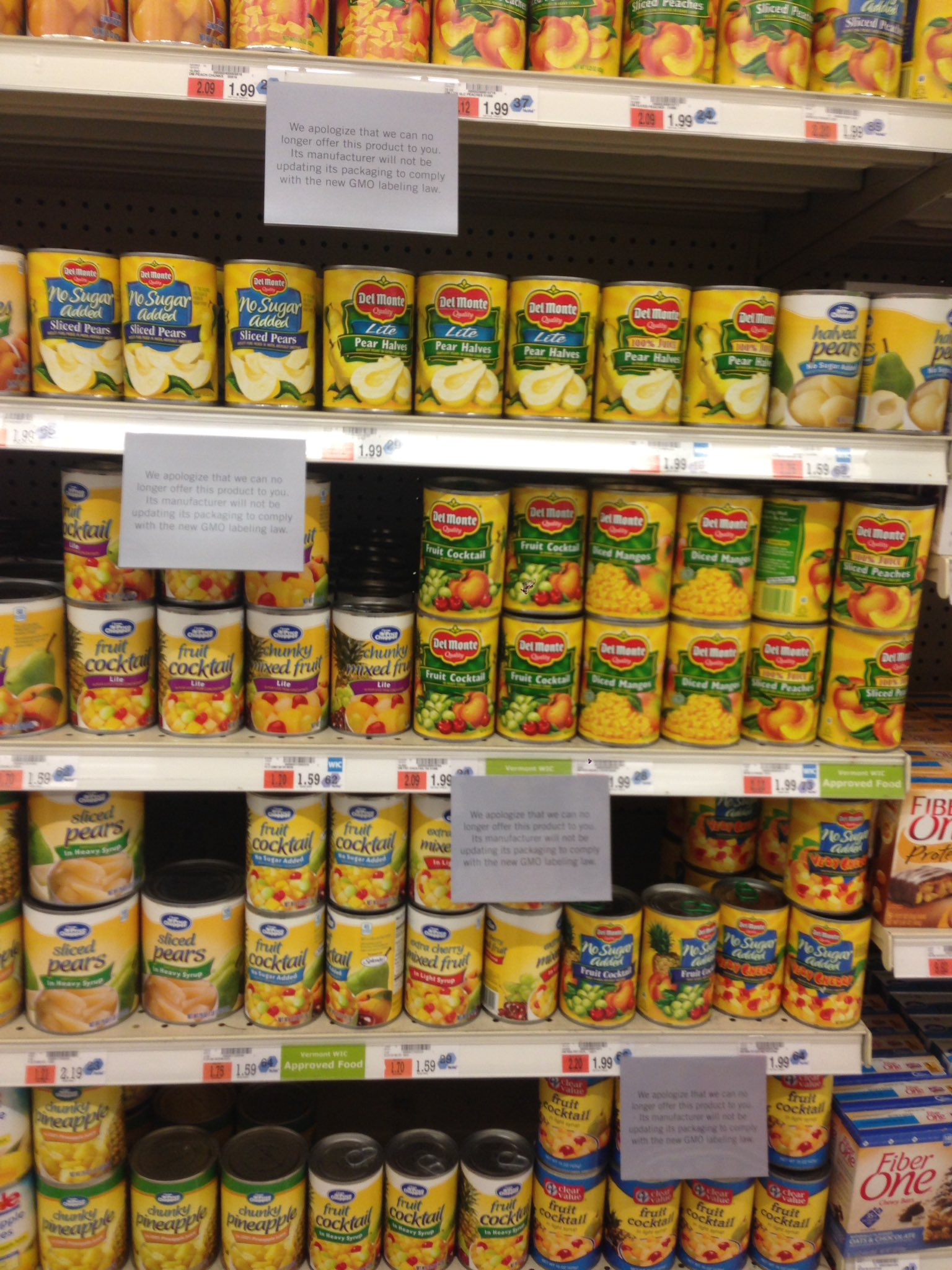 Removal of non-compliant canned fruit at Price Chopper.