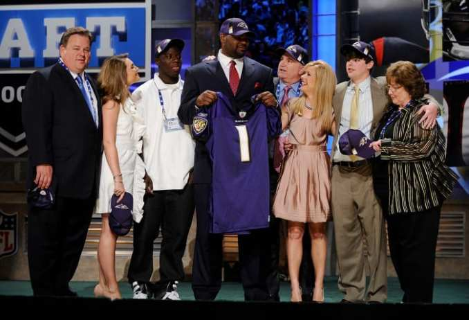 Michael Oher poses for a photograph with his family at Radio City Music Hall for the 2009 NFL Draft on April 25, 2009, in New York City