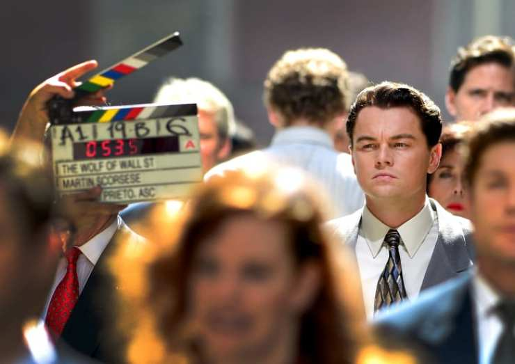 """Leonardo DiCaprio filming on location for """"The Wolf Of Wall Street"""" on August 25, 2012, in New York City"""