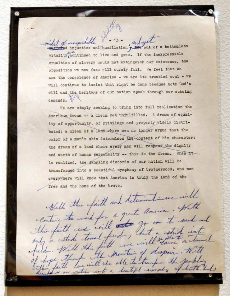 "A draft of a Martin Luther King speech to the National Press Club with handwritten changes. The crossed-out section was to appear a year later in the ""I Have A Dream Speech."""