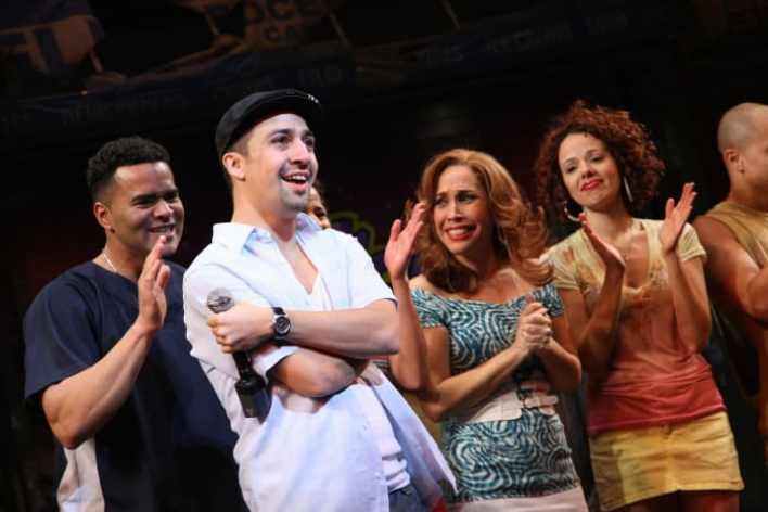 """Lin-Manuel Miranda during the """"In the Heights"""" Broadway opening night curtain call at the Richard Rodger Theatre on March 9, 2008, in New York City"""