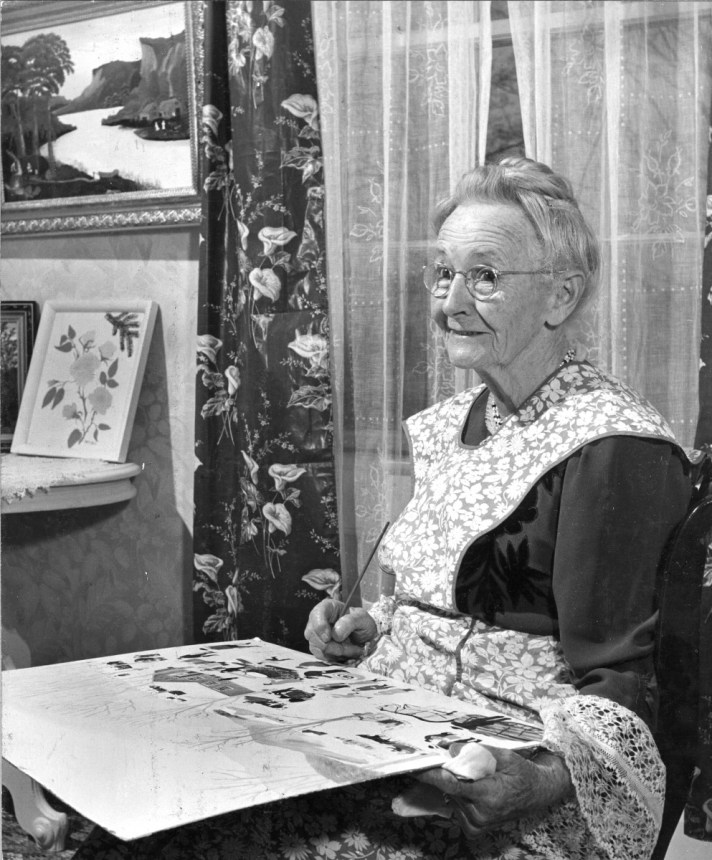 Portrait of American artist Anna Mary Robertson Moses, better known as Grandma Moses.