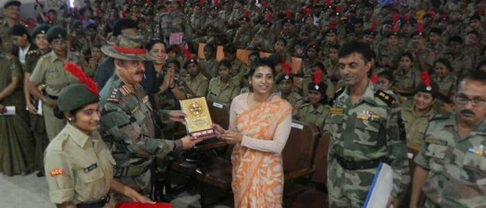 commander of the NCC group presents a memorial to Amrapali Katha