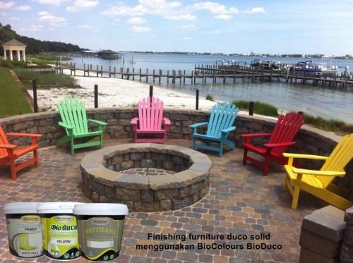finishing furniture warna solid menggunakan cat kayu duco  solid BioColours Bioduco