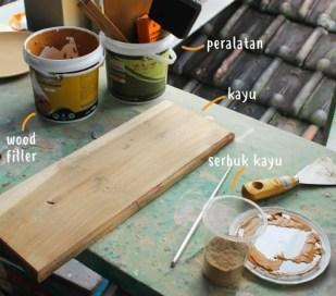 dempul kayu menggunakan serbuk kayu + biovarnish wood filler