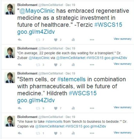 Examples of BioInformant's Stem Cell Tweets