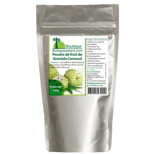 Poudre de feuilles de Corossol Graviola bio contre le cancer