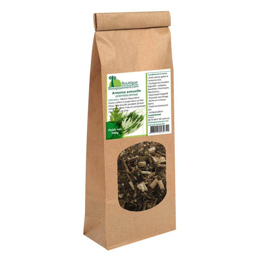 Armoise annuelle bio Artemisia annua riche en artemisinine plante feuille tige anticancer naturel en tisanes ou en gélules