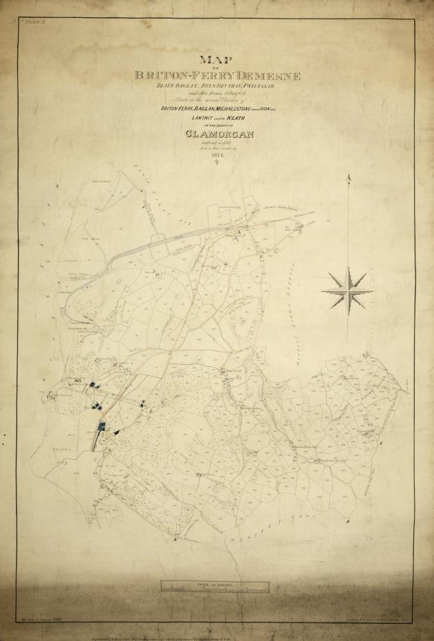 Χάρτης που κατασκεύασε το 1847 ο Wallace με τον αδερφό του William (Πηγή: Wallace Online - Wallace, A. R. and Wallace, John. 1847. Map of Briton-Ferry Demesne).