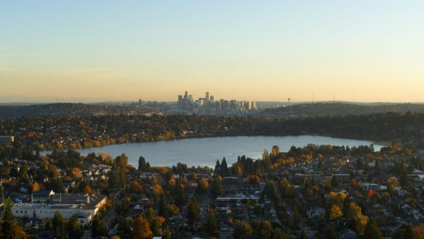 Aerial Photo of Seattle Skyline from Greenlake