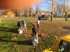 4-Men Raking Leaves (1 other out of the picture leaning on his rake!)