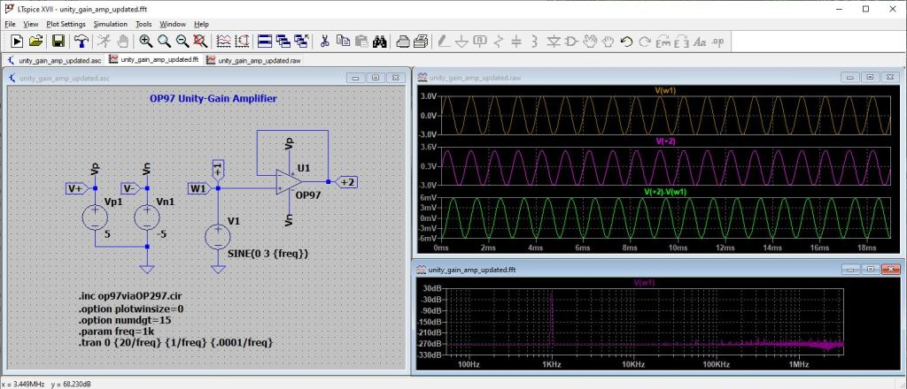 LTSpice simulation of OP97 op-amp