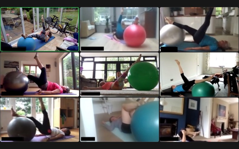 swiss ball class on zoom