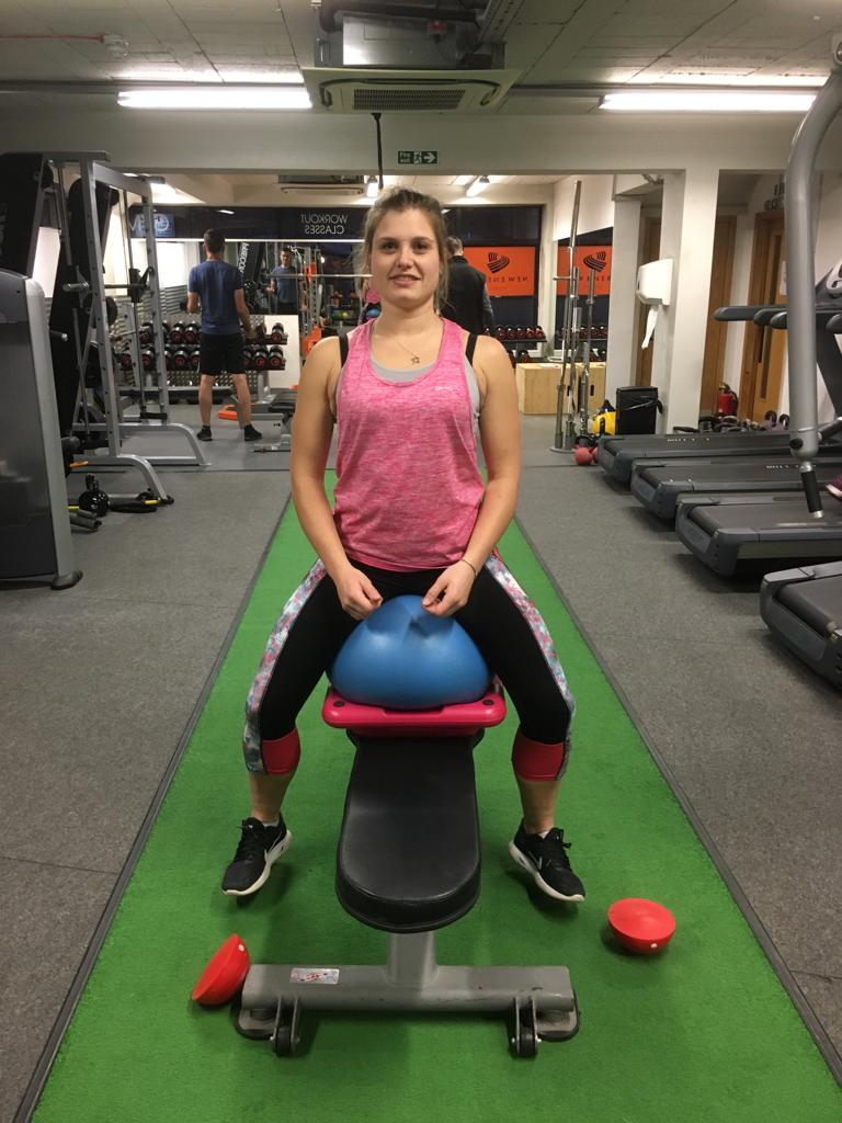 Hannah Bown after core and  balance work
