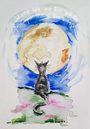 Cat and Moon Print Poster