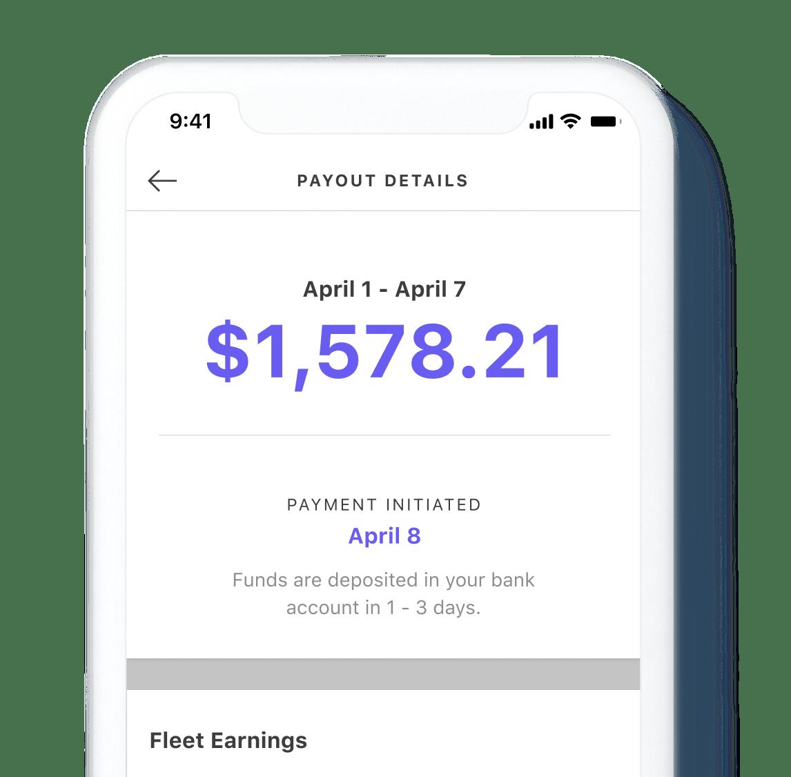 Bird app displaying fleet earnings payout details view
