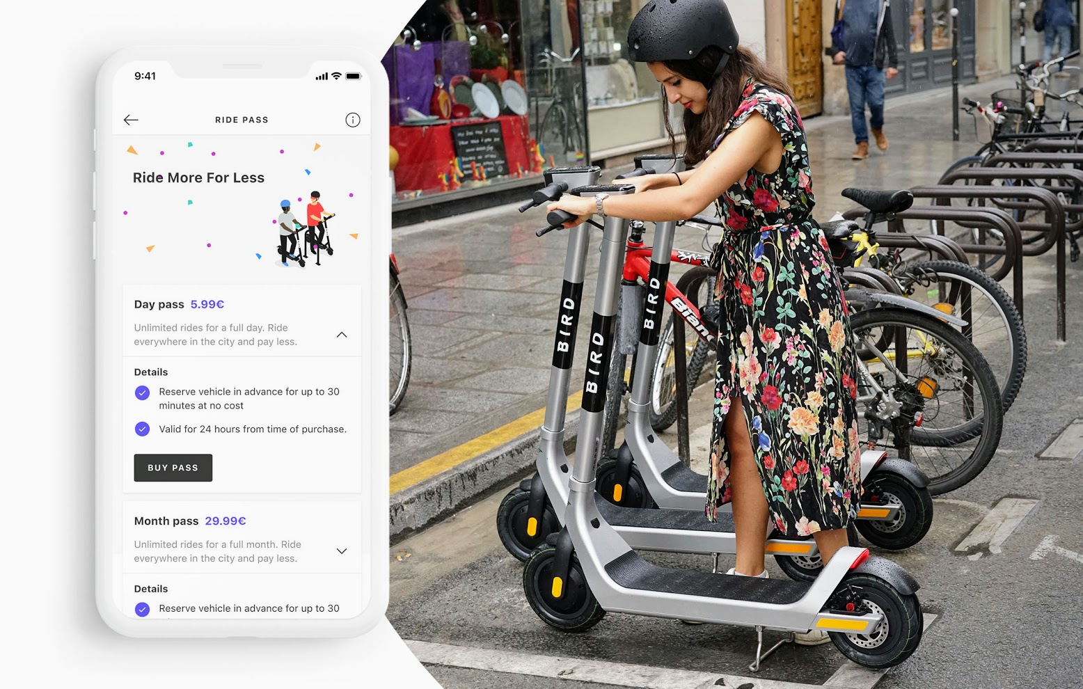 """Woman parking scooter next to image of """"Ride Pass"""" in-app screenshot"""