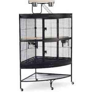Corner Bird Cage for Large Birds by Prevue 3158 Black