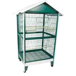 Indoor Aviary Bird Cage W Pitched Roof by AE 100B-1 Green & White
