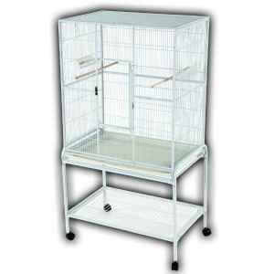 Indoor Aviary Bird Cage & Stand for Smaller Birds by AE 13221 White