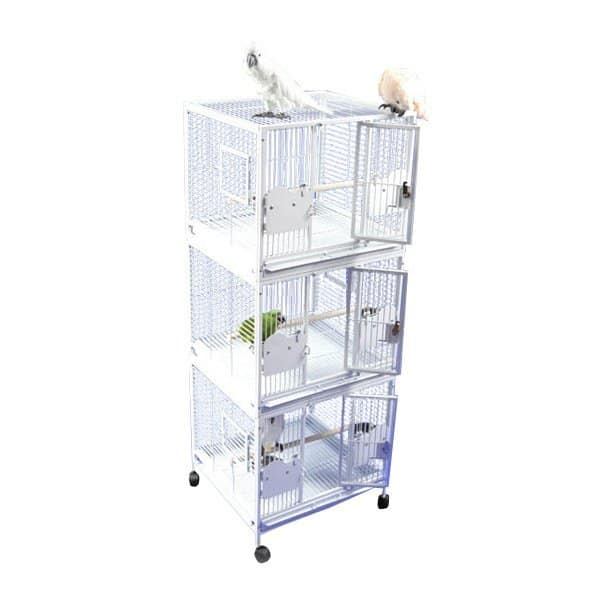 Breeder Bird Cage Triple Stack for 3 Smaller Parrots by AE 2422-3 Black