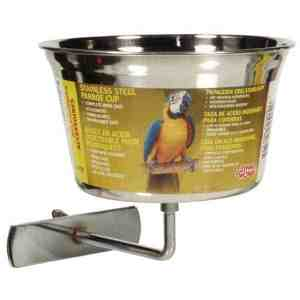 Screw on Stainless Steel Parrot Feeding Dish by Hagen Hari 32 oz