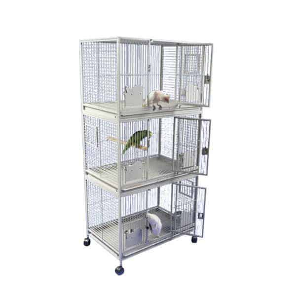 Breeder Bird Cage Triple Stack for 3 Medium Parrots by AE 3624-3 Black