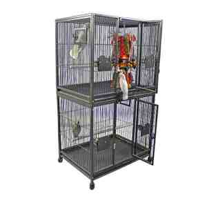 Breeder Bird Cage Double Stack for 2 Large Parrots by AE 4030-2 Platinum