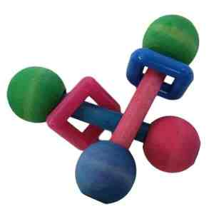 Barbell Foot Toy for Small Parrots, Tinted with Square 2 pack