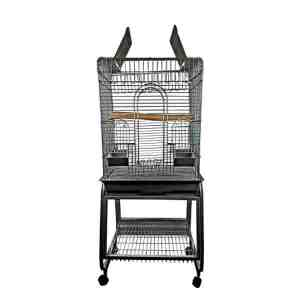 Flat Top Bird Cage for Smaller Birds by AE 702 Black