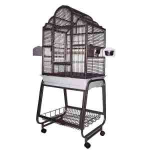 Elegant Top Bird Cage & Stand for Small Birds by AE 703 Platinum