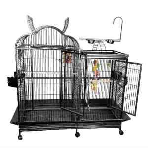 Divided Bird Cage Split Level With Divider by AE PC-4226D Platinum