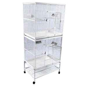 Breeder Bird Cage Double Stack Space Saver by AE 13221-2 Platinum