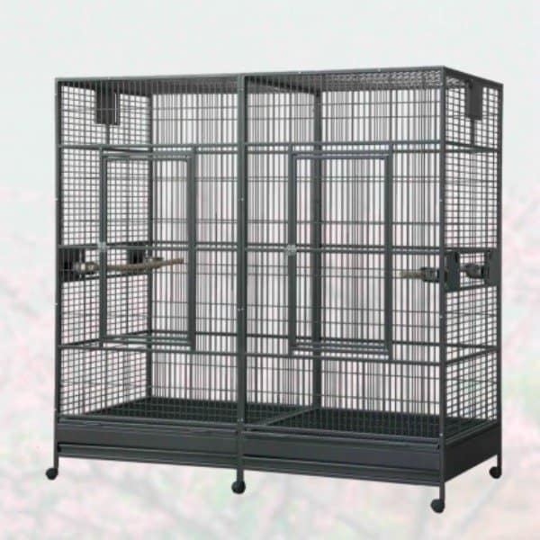 Divided Extra Large Parrot Cage by HQ 18040 Platinum