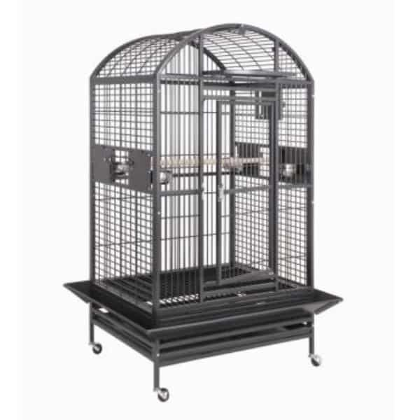 Dome Top Bird Cage for Medium Large Birds by HQ 90036D Platinum
