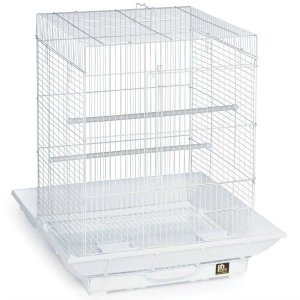 Clean Life Flat Top Bird Cage for Small Birds 850 White