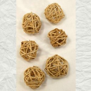 Munchie Woven Vine Balls for Parrot Foot Toys 1 inch 6 pc