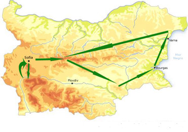 Mapa de viaje a Bulgaria