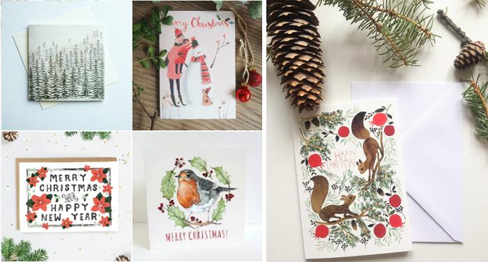 Papeterie pour les Fêtes: Ma sélection de jolies cartes de Noël pour envoyer ses vœux de fin d'année. Avec des créations à l'aquarelle d'illustrateurs, dénichées sur Etsy par le blog Birds & Bicycles.