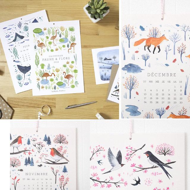 Calendrier d'illustratrice à l'aquarelle (animaux & plantes)
