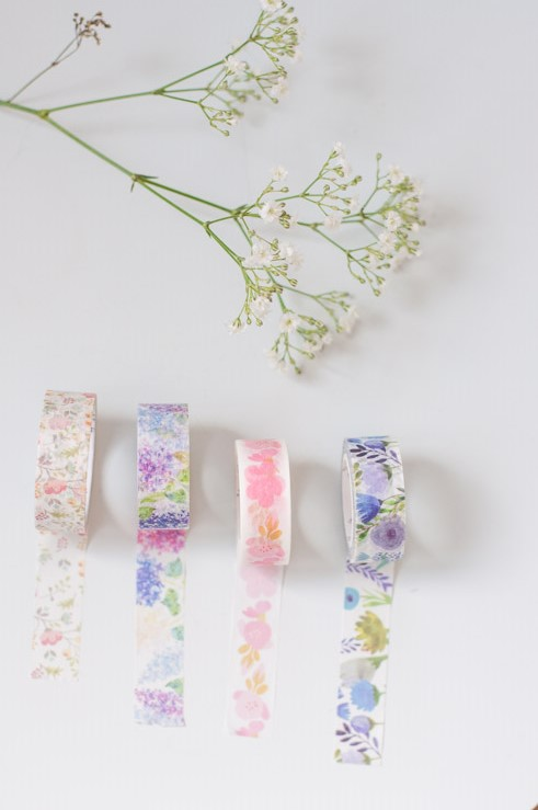 Masking tapes à motifs fleuris : crédit photo Birds & Bicyles