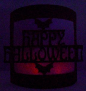 happy halloween bendy card at night
