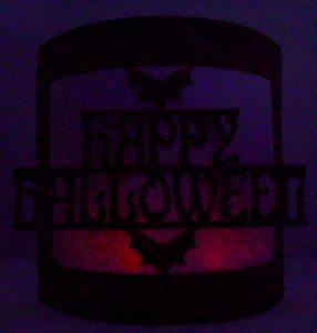 happy halloween bendy card at night